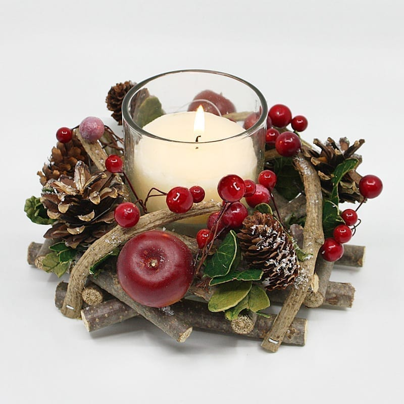 15CM Christmas Round Wreath Candle Holder-1