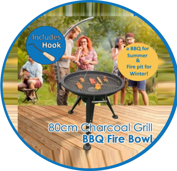 80CM Iron & Stainless Steel Charcoal BBQ Grill Fire Bowl 1