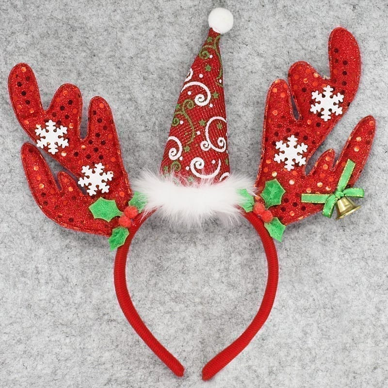 Christmas Headband Red Antler Holly Snowflakes-1