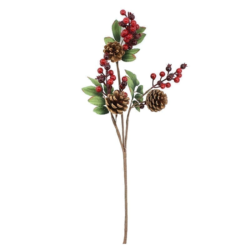 Christmas Holly Berries & Pines Branch
