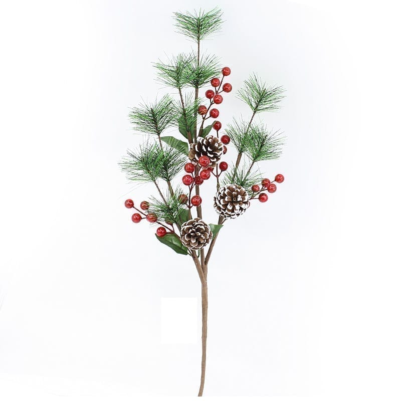 Christmas Holly Berries Snow Tip Pines & Needles Branch