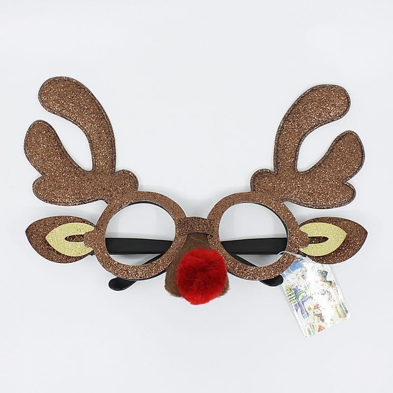 Christmas Party Glasses Brown Glitter Reindeer