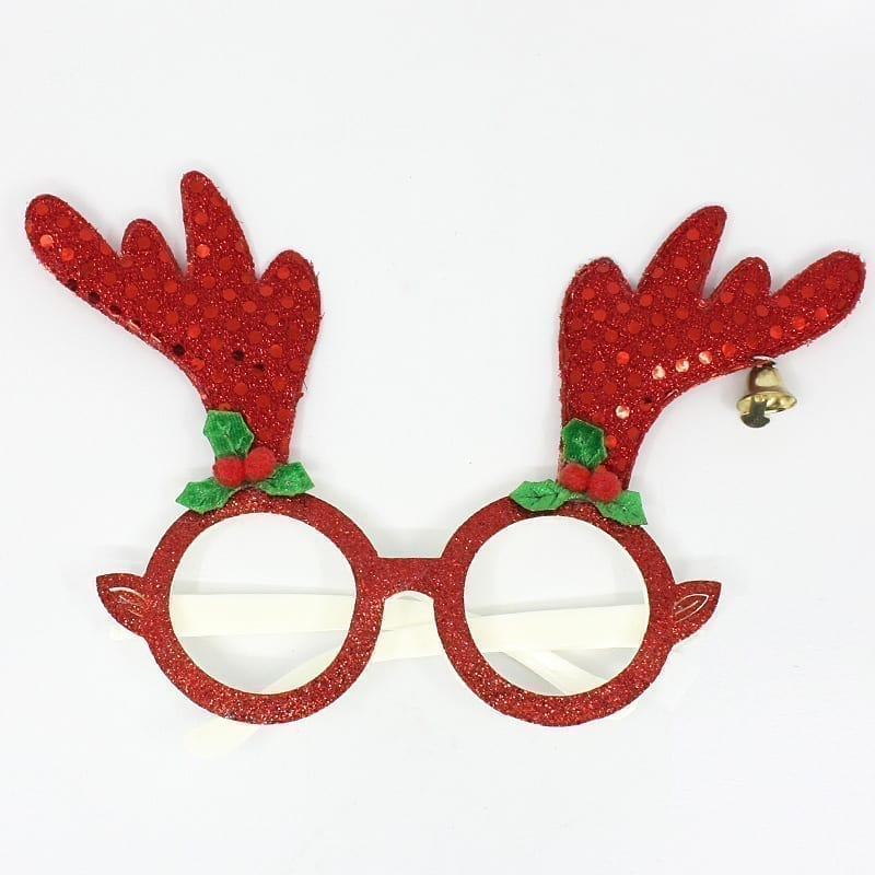 Christmas Party Glasses Red Glitter Antlers