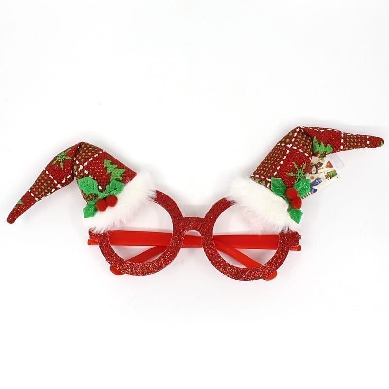 Christmas Party Glasses Red Glitter Twin Hat